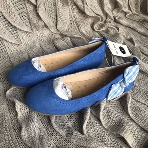 Cat & Jack Blue Dress Flats with Bow 💙 Size 1 🥿